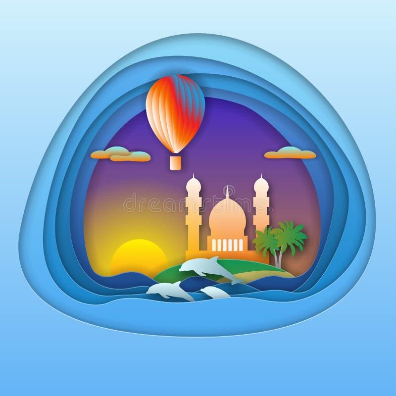 Coucher du soleil avec le ballon, les dauphins, la mosquée et les palmiers sur l'île Illustration de touristes de carte dans le s illustration libre de droits