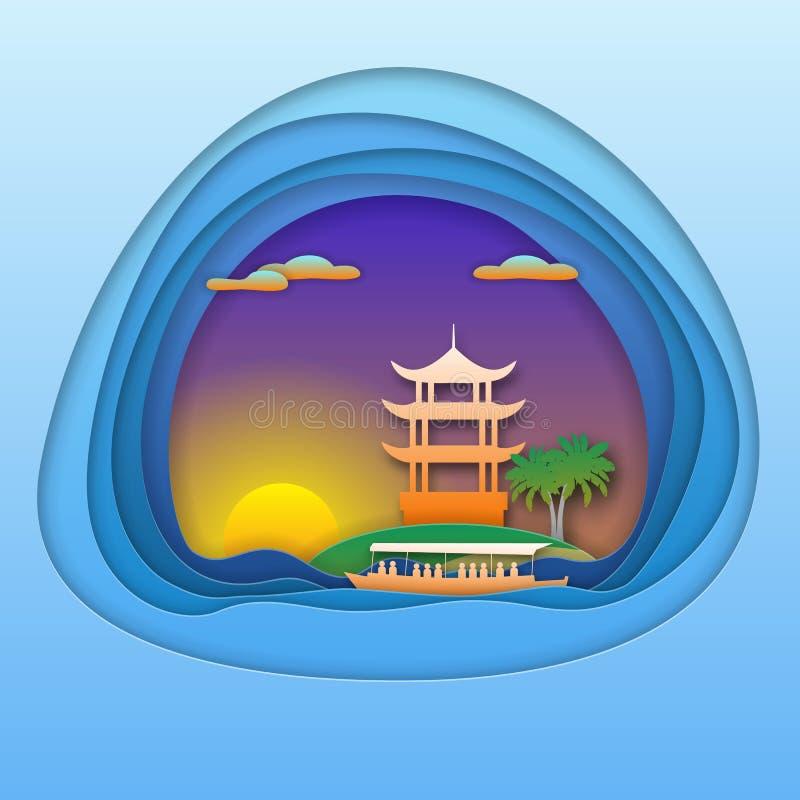 Coucher du soleil avec le bateau et la pagoda sur l'île Illustration de touristes de carte dans le style de coupe de papier illustration de vecteur