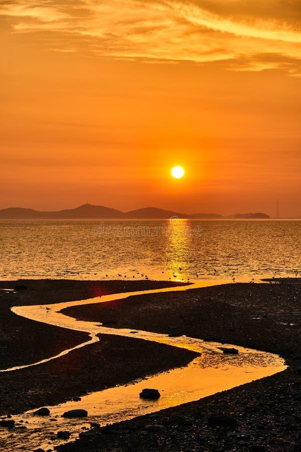 Coucher du soleil avec le tideland photos libres de droits