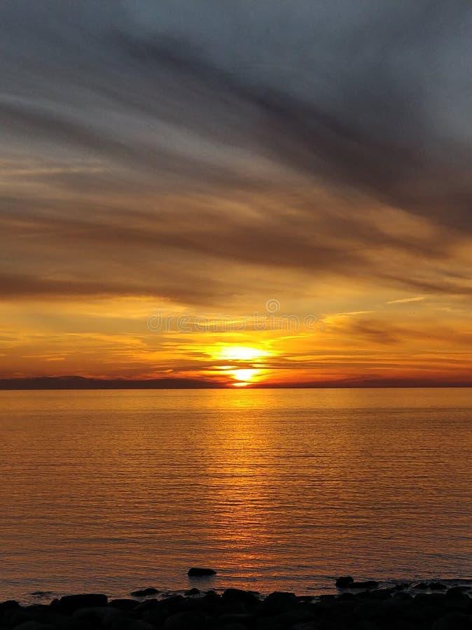 Coucher du soleil baltique de plage image libre de droits