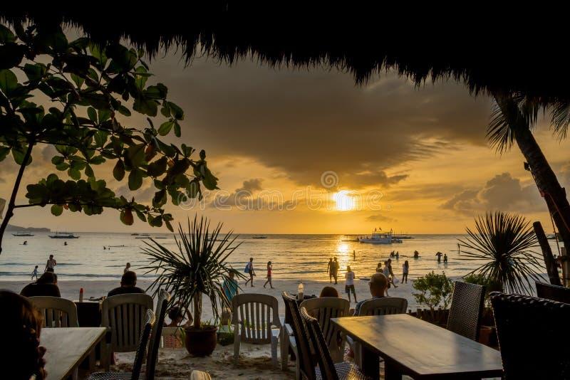 Coucher du soleil Boracay Philippines photographie stock