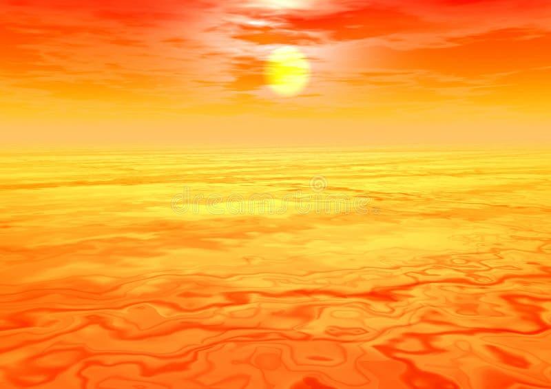 Coucher du soleil brumeux illustration de vecteur