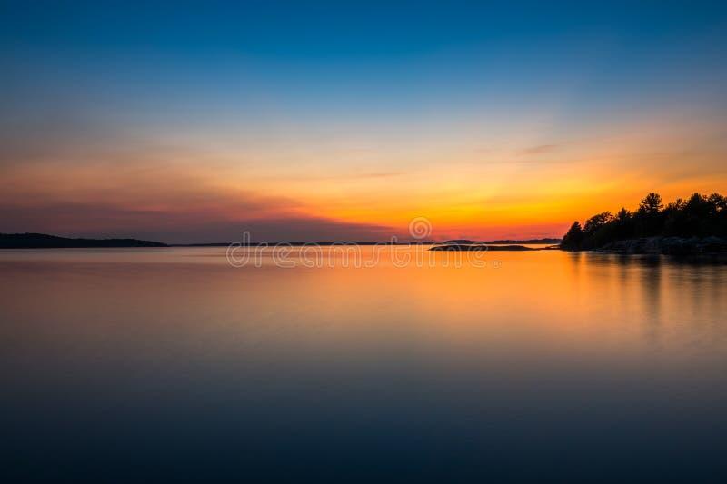 Coucher du soleil chaud d'Ontario Canada de baie géorgienne photo libre de droits