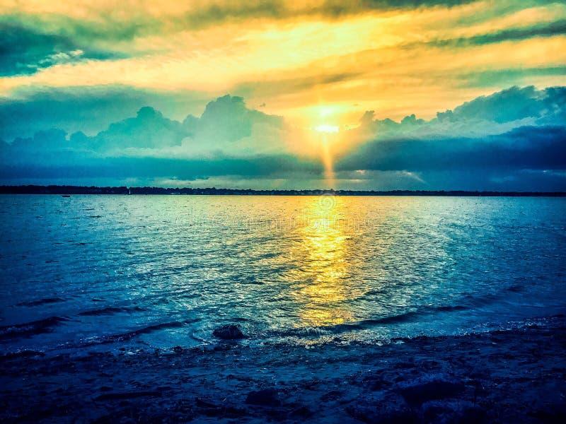 Coucher du soleil chez Crescent Park images libres de droits