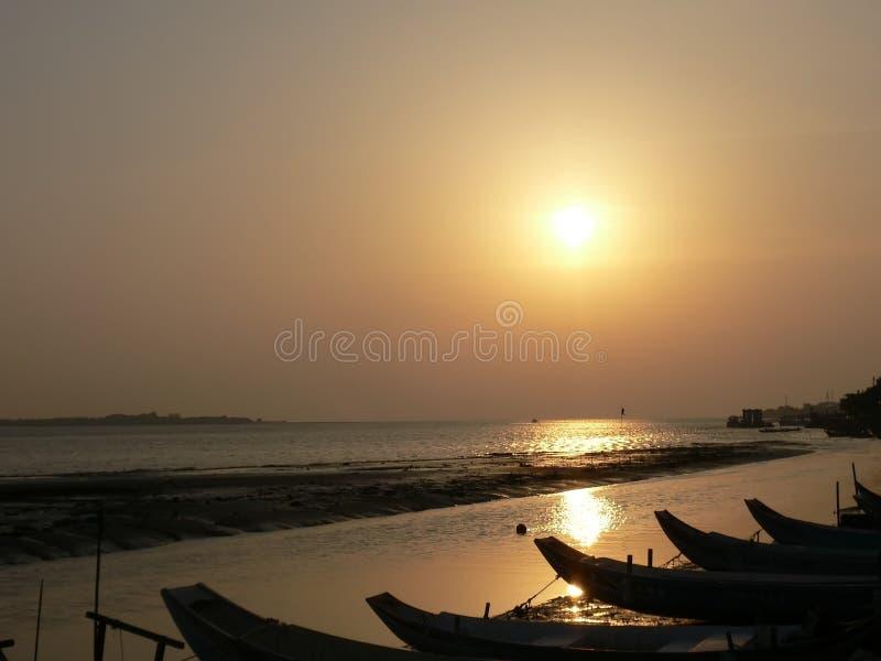 Coucher du soleil chez Danshui images libres de droits