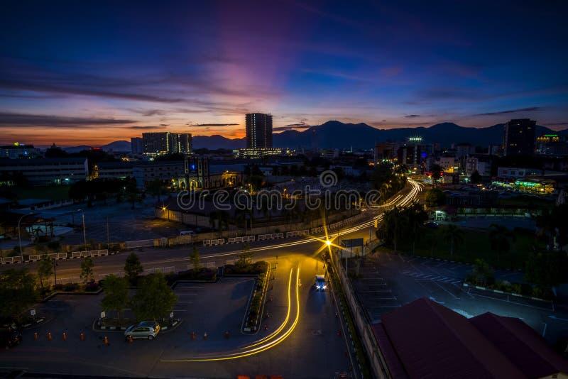 Coucher du soleil chez Ipoh, Perak Malaisie photo libre de droits