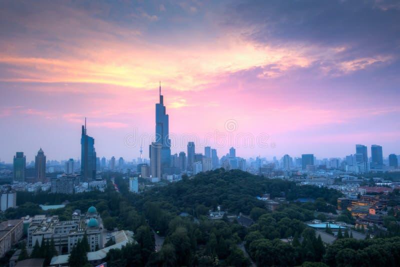 Coucher du soleil chez Nanjing City photos libres de droits