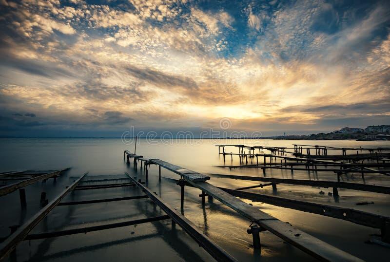 Coucher du soleil chez Ravda, Bulgarie photographie stock