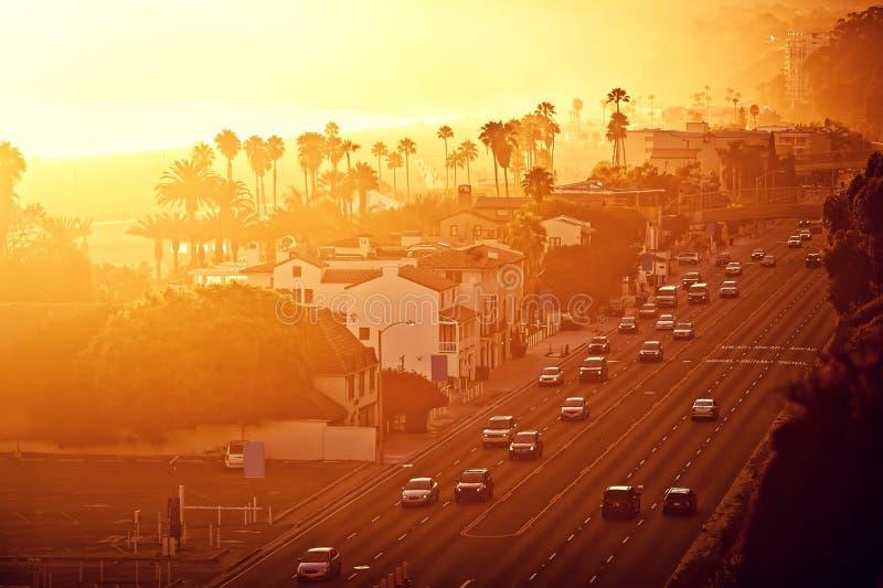 Coucher du soleil chez Santa Monica, la Californie image libre de droits
