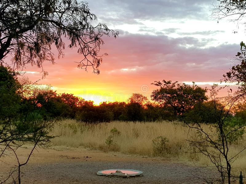 Coucher du soleil chez Zebula images libres de droits