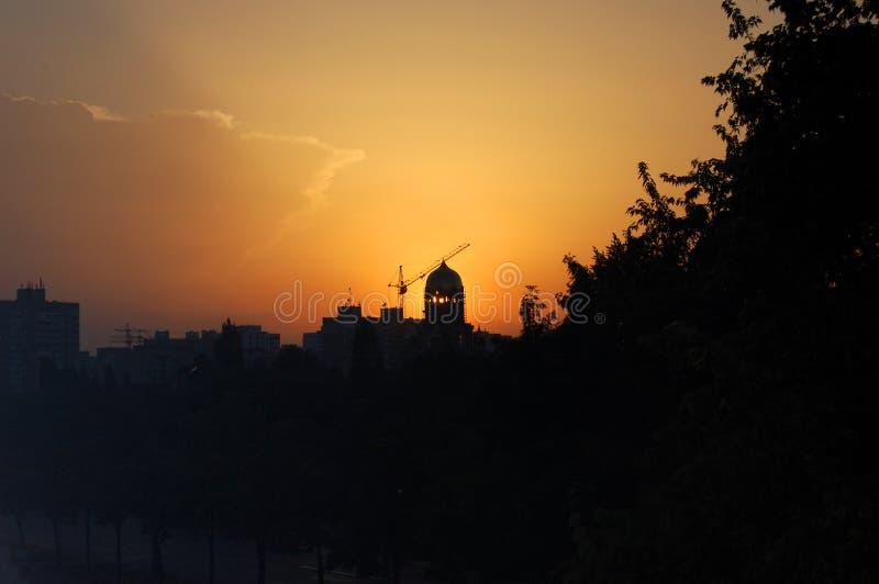 Coucher du soleil Chypre (4k) d'église images libres de droits