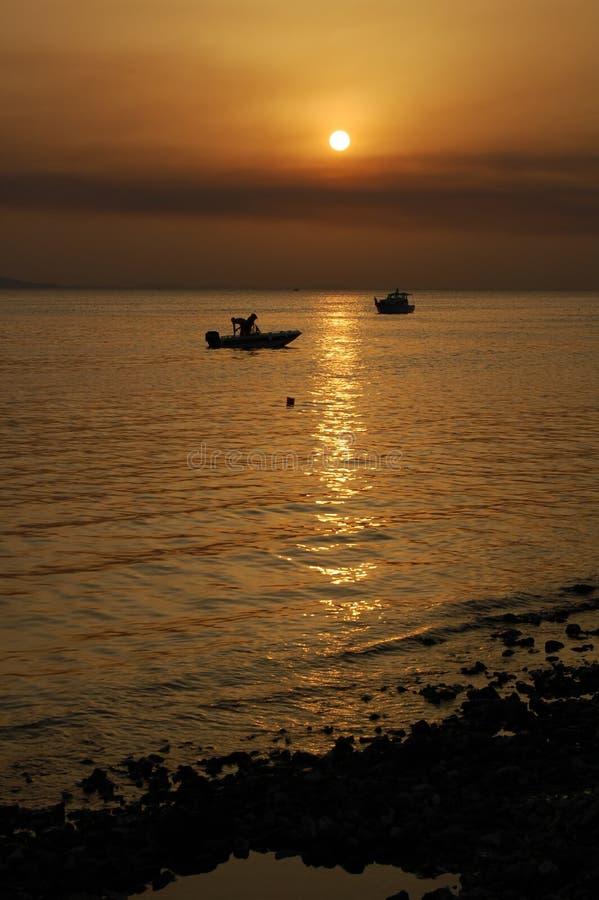 Coucher du soleil, Coatia photo libre de droits
