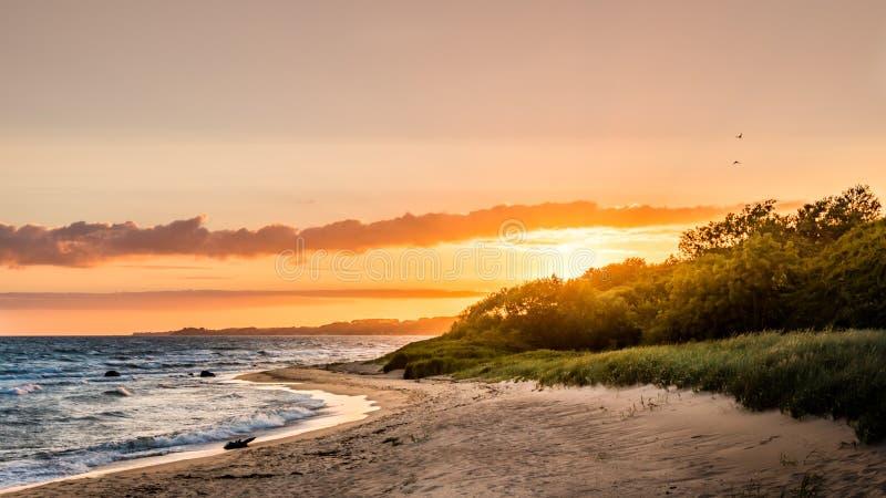 Coucher du soleil coloré de littoral avec la beaux plage et océan image libre de droits
