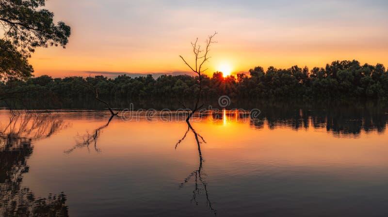 Coucher du soleil color? de delta sauvage de Danube photos stock