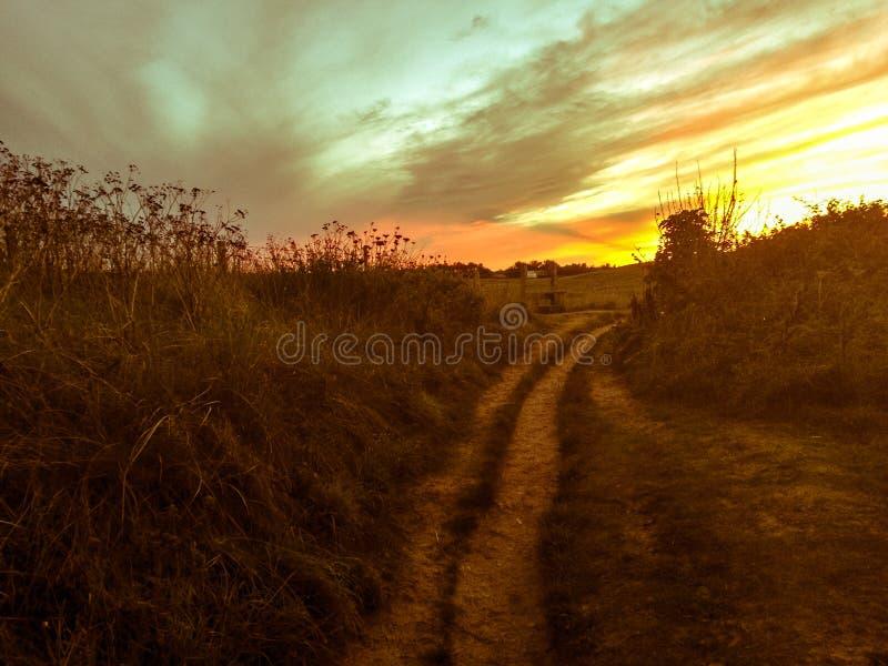 Coucher du soleil cornouaillais photographie stock libre de droits