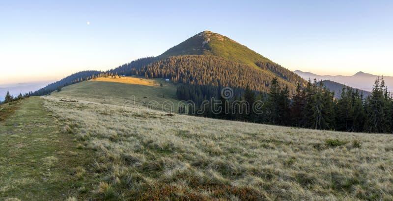 Coucher du soleil crémeux doux en montagnes carpathiennes L'herbe a couvert le pré photos libres de droits
