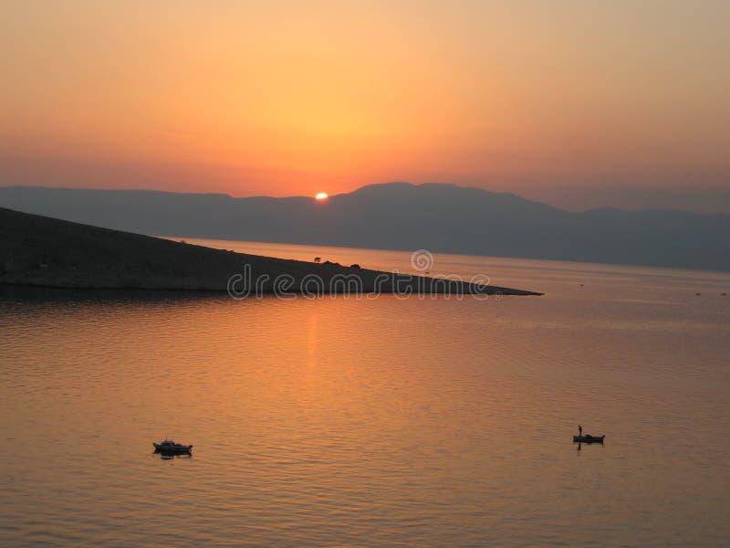 Coucher du soleil Croatie images stock