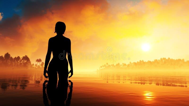 Coucher du soleil d'épopée de femme d'été illustration stock