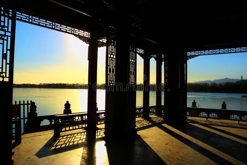 coucher du soleil d'été de palais photo stock
