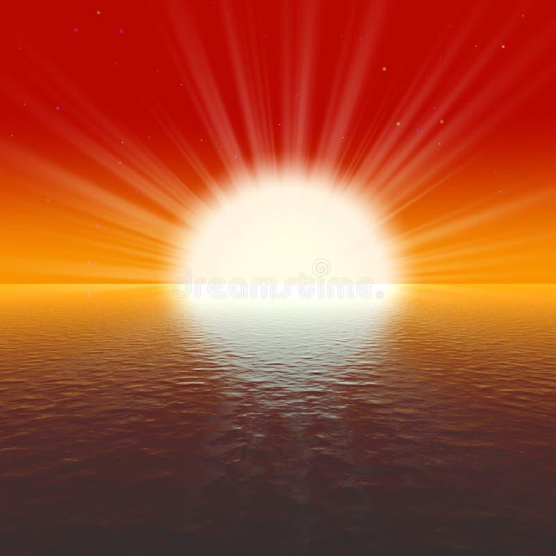 Coucher du soleil d'or étonnant illustration stock
