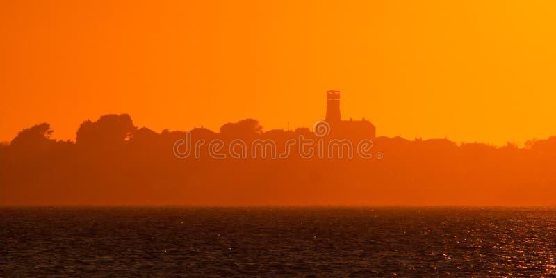 Coucher du soleil d'île de Herm photos stock