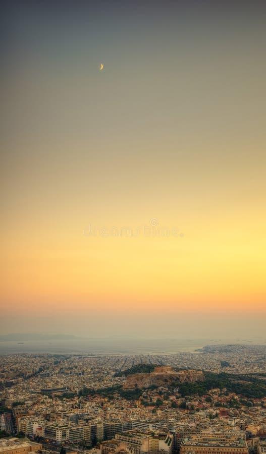 Coucher du soleil d'Acropole au-dessus d'Athènes, Grèce photos stock
