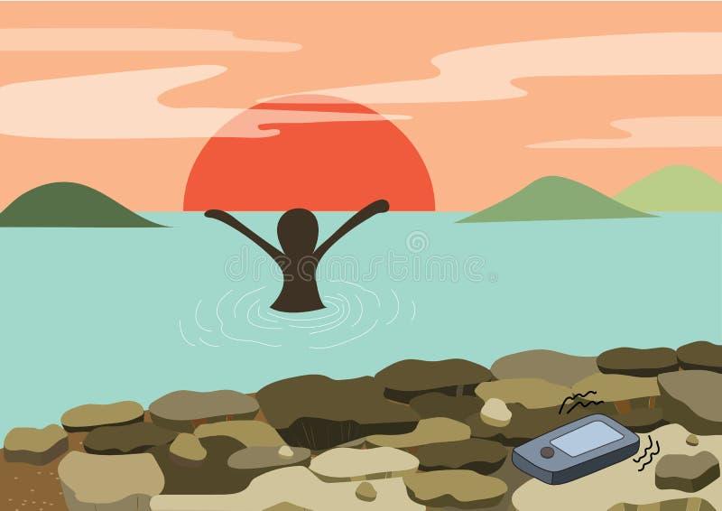 Coucher du soleil d'amusement de plage - la femme heureuse détendent dans des bras de mer avec la montagne et le soleil de tête d illustration libre de droits