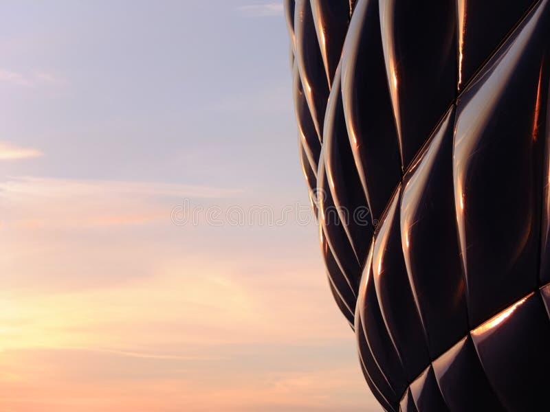 Coucher du soleil d'arène d'Allianz photos libres de droits