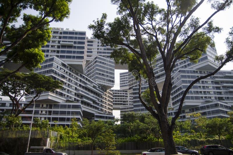 Coucher du soleil d'architecture de gratte-ciel de paysage urbain photographie stock libre de droits