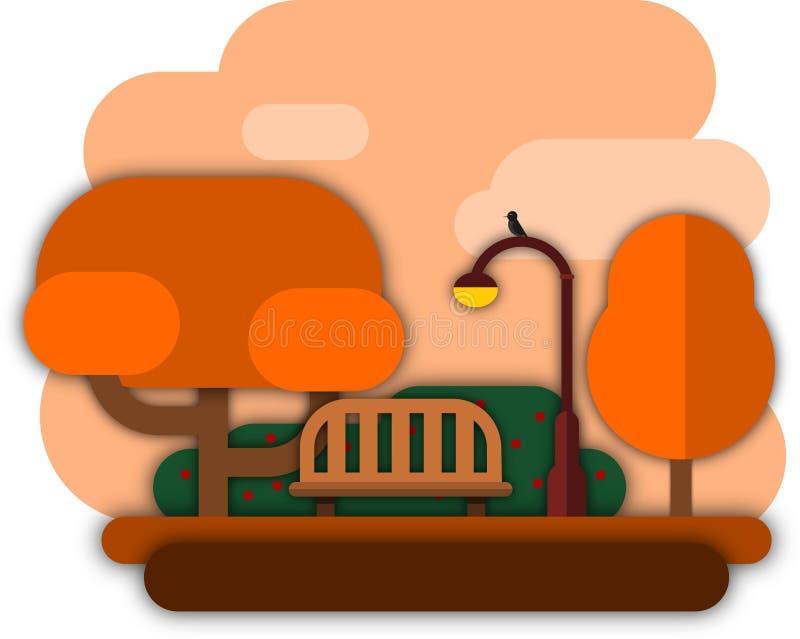 Coucher du soleil d'automne en parc illustration libre de droits
