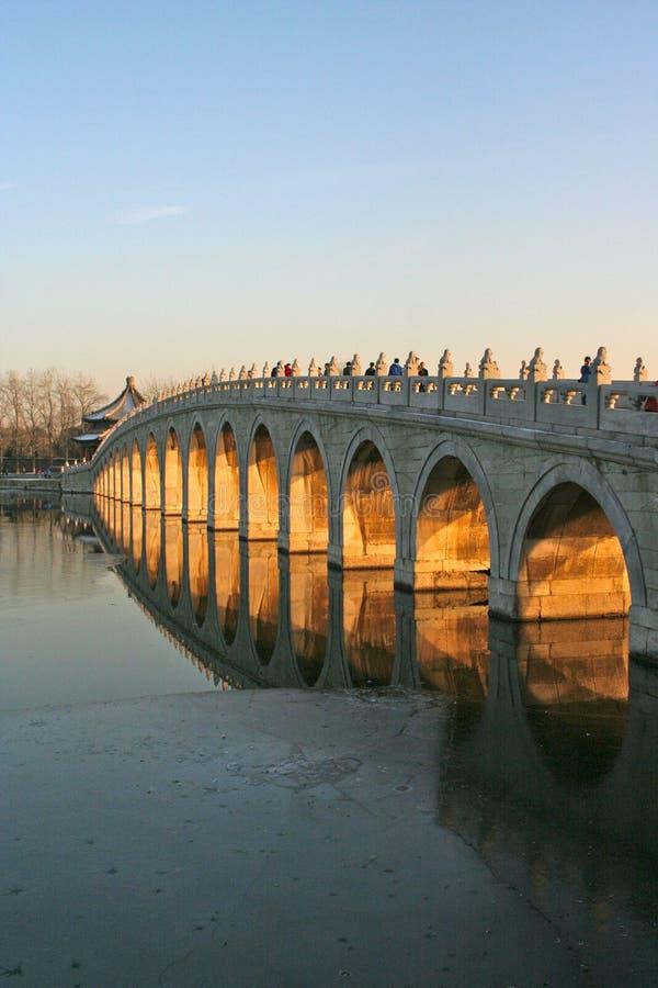 Coucher du soleil d'or de pont de Dix-sept-voûte (palais d'été) photos stock