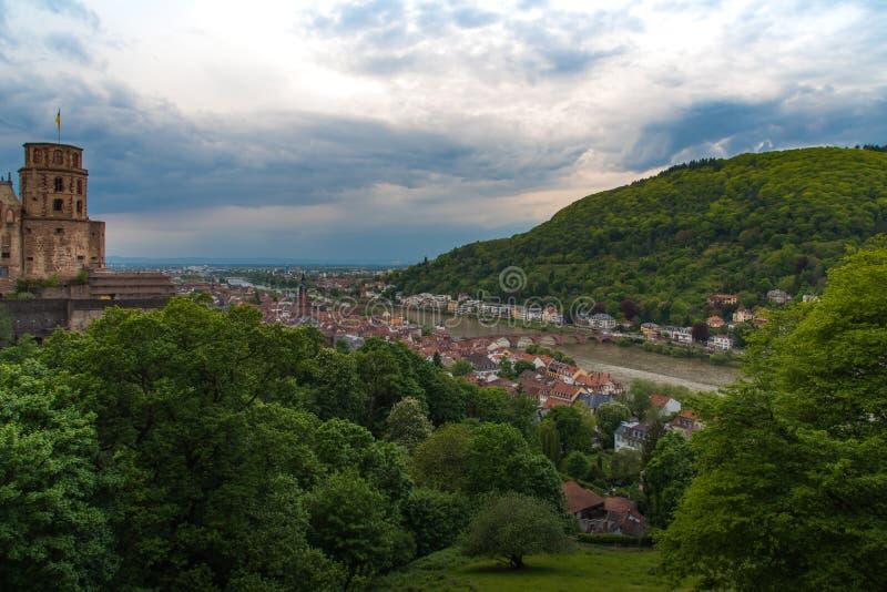 Coucher du soleil d'Heidelberg de la colline image libre de droits