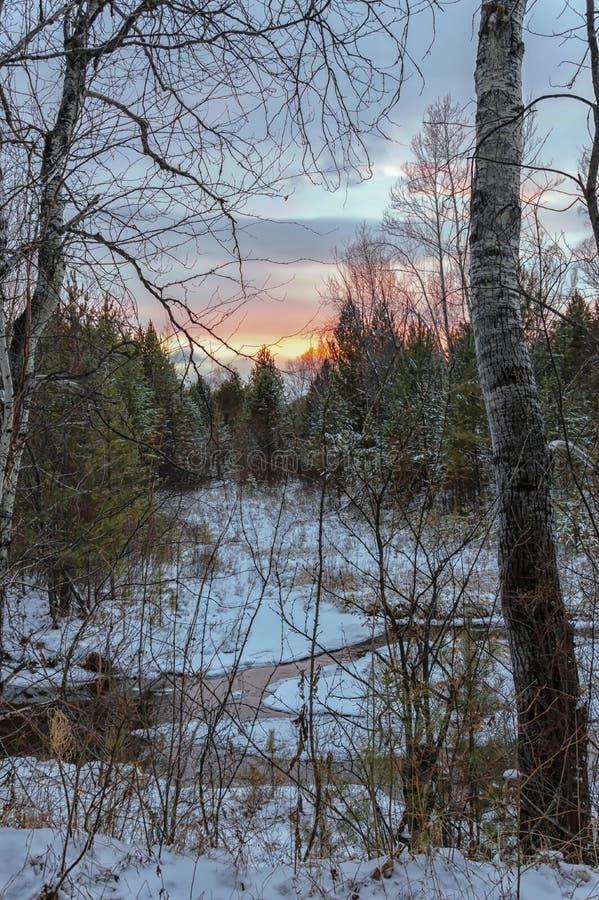 Coucher du soleil d'hiver dans la réflexion de forêt en rivière, qui ne gèle pas photographie stock