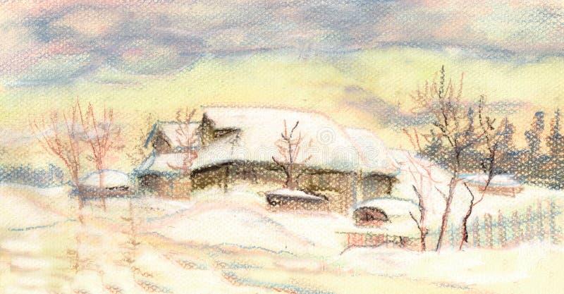 Coucher du soleil d'hiver illustration libre de droits