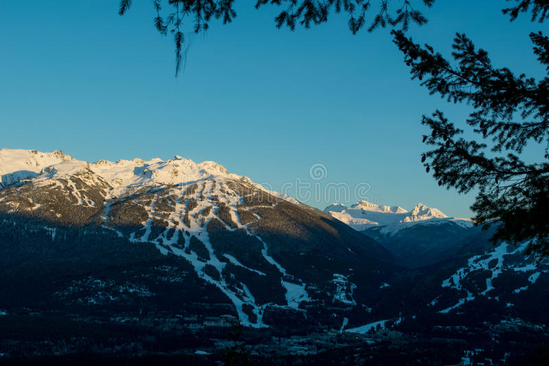 Coucher du soleil d'hiver de Whistler photo stock