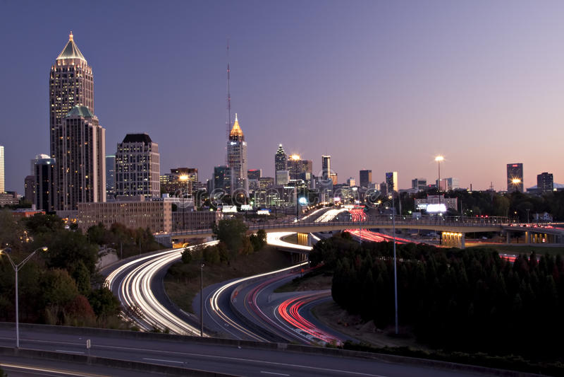 coucher du soleil d'horizon d'Atlanta photos stock