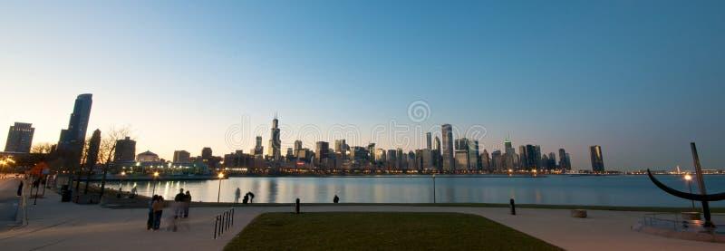 coucher du soleil d'horizon de Chicago photos stock