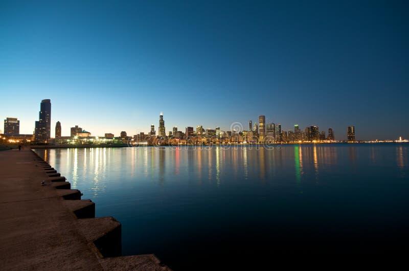 coucher du soleil d'horizon de Chicago image stock