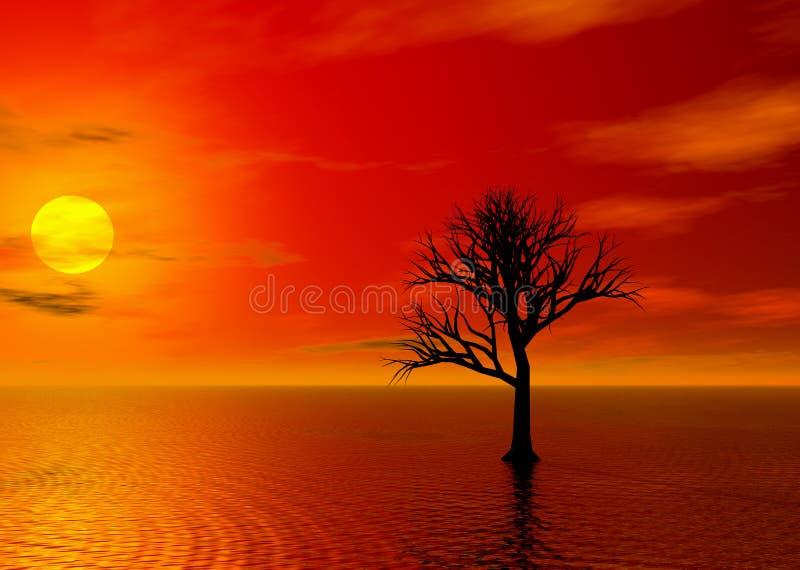 Coucher du soleil d'incendie illustration de vecteur