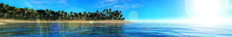 Coucher du soleil d'océan, île en mer, vue panoramique de coucher du soleil en mer photographie stock