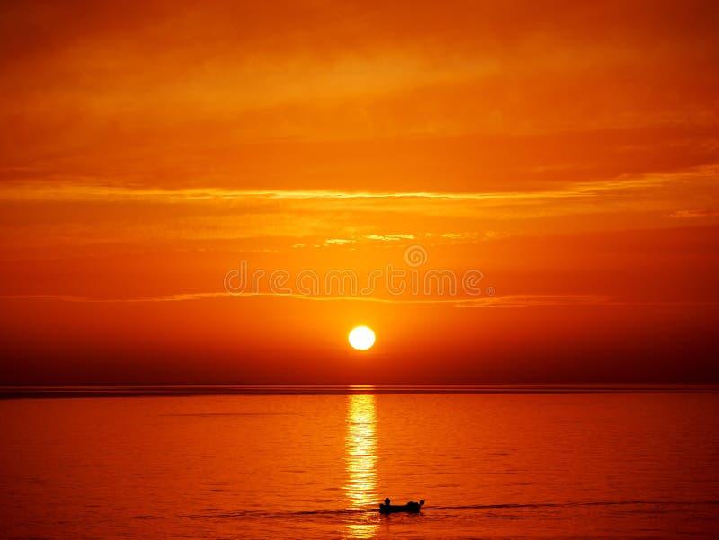 Coucher du soleil d'océan de Rhodes photo stock