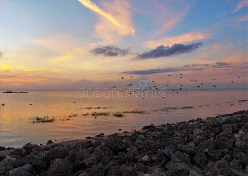 Coucher du soleil d'Okeechobee de lac images stock