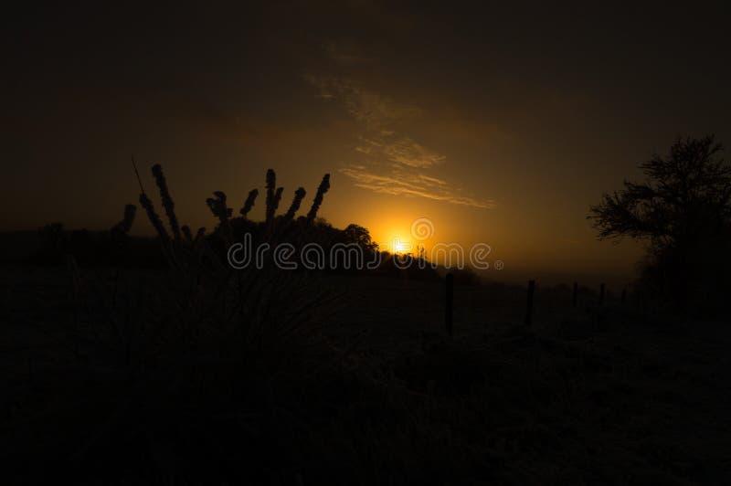 Coucher du soleil d'un jour d'hiver givré images stock
