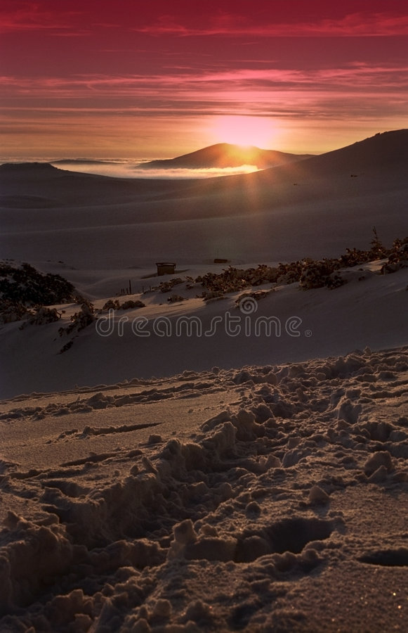 Coucher du soleil dans Bucegi   images stock