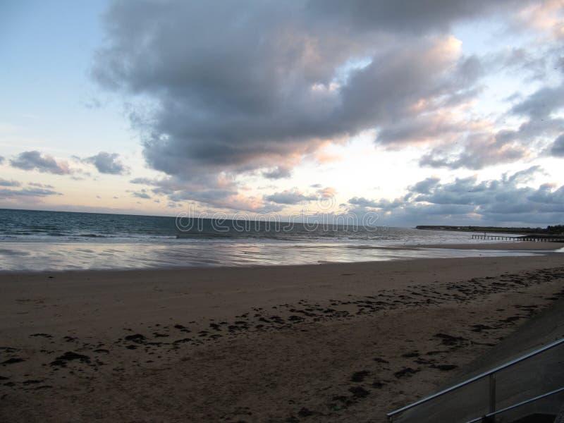 Coucher du soleil dans des Frances de la Normandie images libres de droits