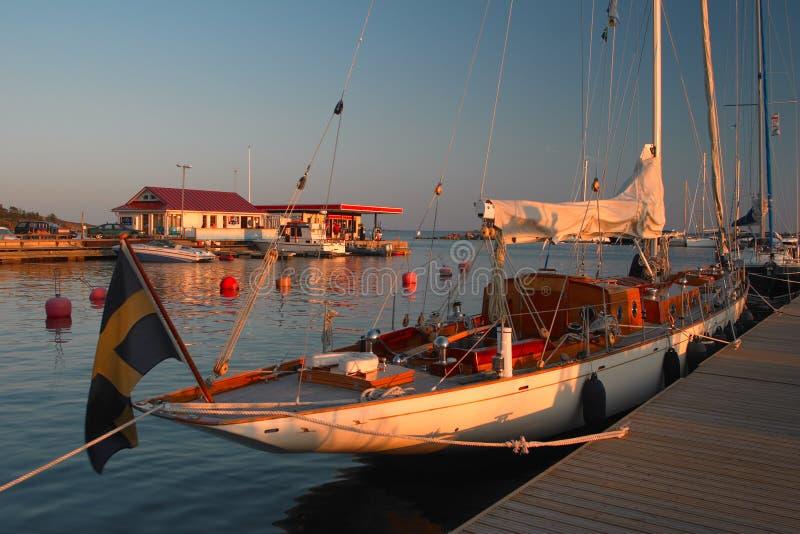 Coucher du soleil dans Hanko images libres de droits