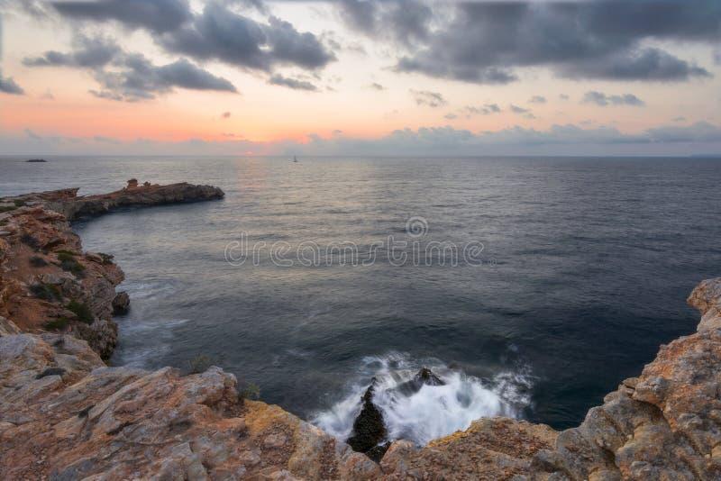 Coucher du soleil dans Ibiza photographie stock libre de droits