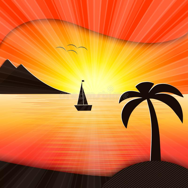 Coucher du soleil dans l'illustration de mer illustration stock