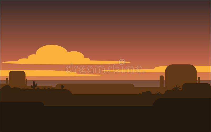 Coucher du soleil dans l'ouest sauvage illustration de vecteur