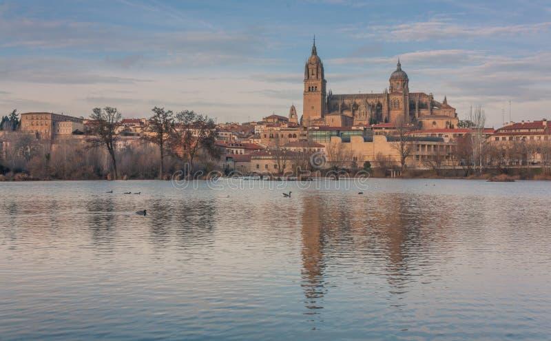 Coucher du soleil dans la cathédrale de Salamanque photos stock